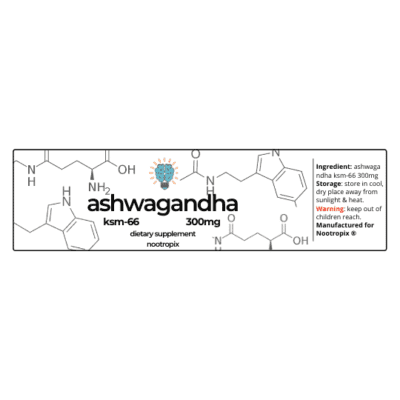 Ashwagandha KSM-66 300mg Capsules Bottle Label Nootropics Dubai UAE