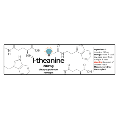 L-Theanine 200mg Capsules Bottle Label Nootropics Dubai UAE