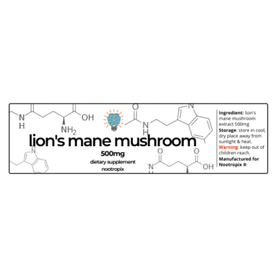 Lion's Mane Mushroom 500mg Capsules Bottle Label Nootropics Dubai UAE