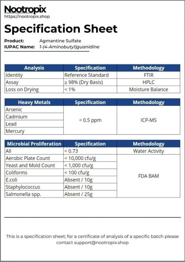 Agmantine Sulfate Specification Sheet for Nootropix Dubai UAE