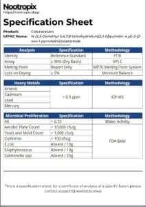 Coluracetam Specification Sheet for Nootropix Dubai UAE