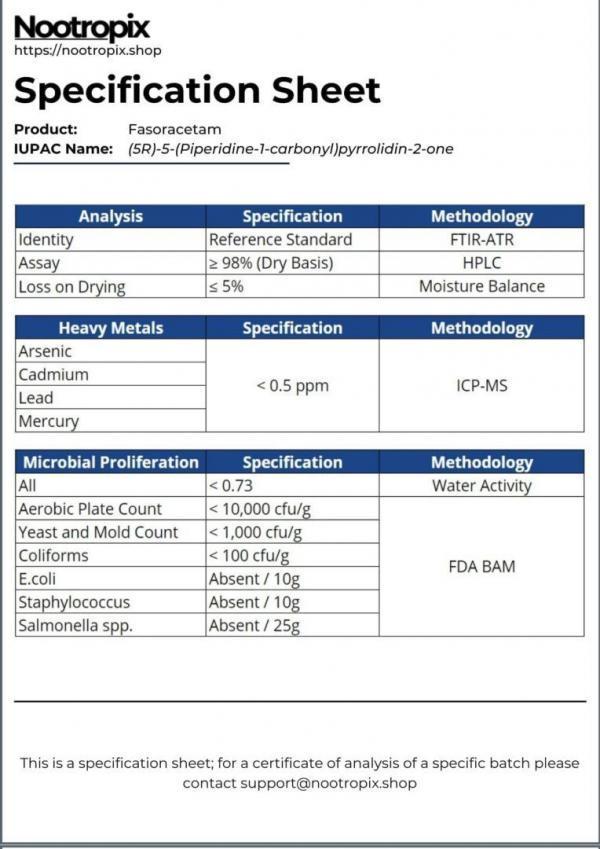 Fasoracetam Specification Sheet for Nootropix Dubai UAE