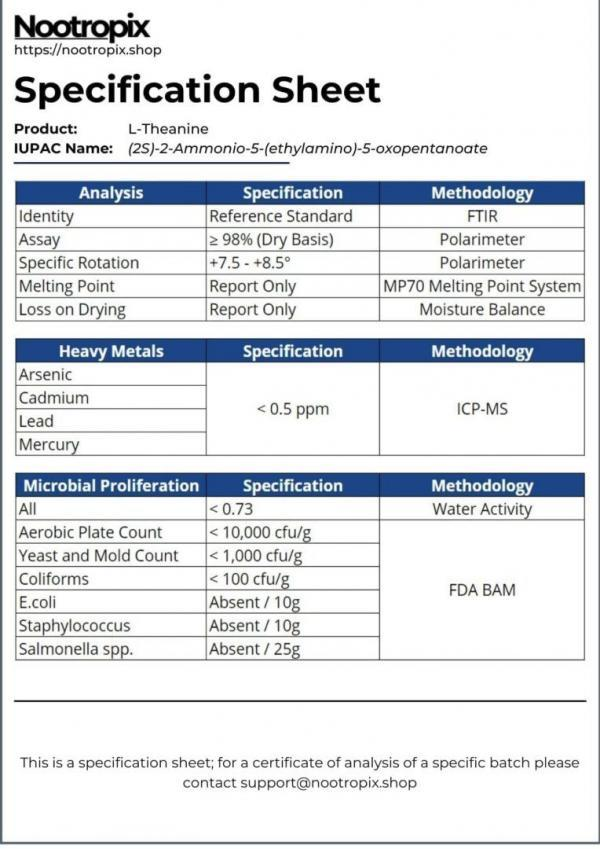 L-Theanine Specification Sheet for Nootropics Dubai UAE