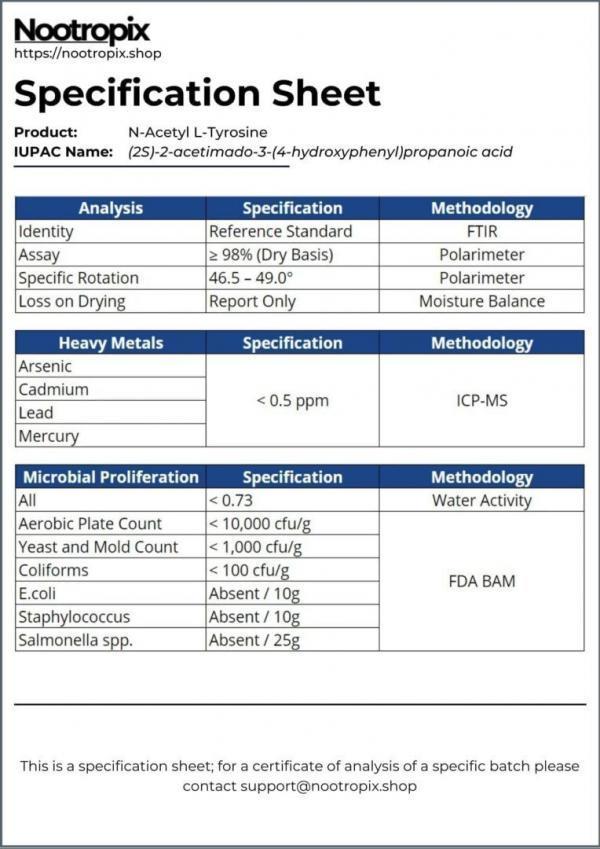NALT Tyrosine Specification Sheet for Nootropix Dubai UAE