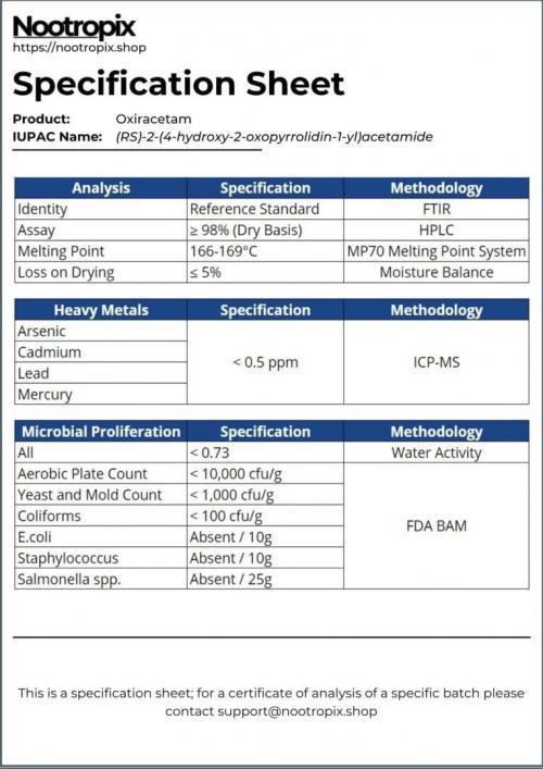 Oxiracetam Specification Sheet for Nootropix Dubai UAE