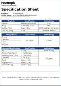 Phenibut Specification Sheet for Nootropix Dubai UAE
