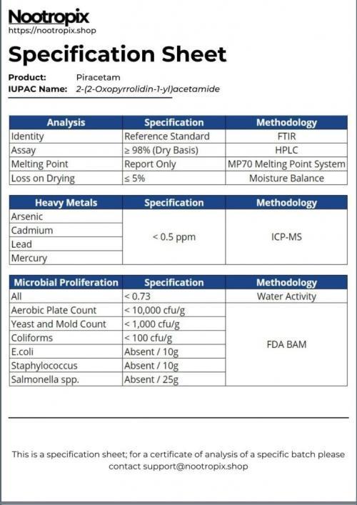 Piracetam Specification Sheet for Nootropix Dubai UAE