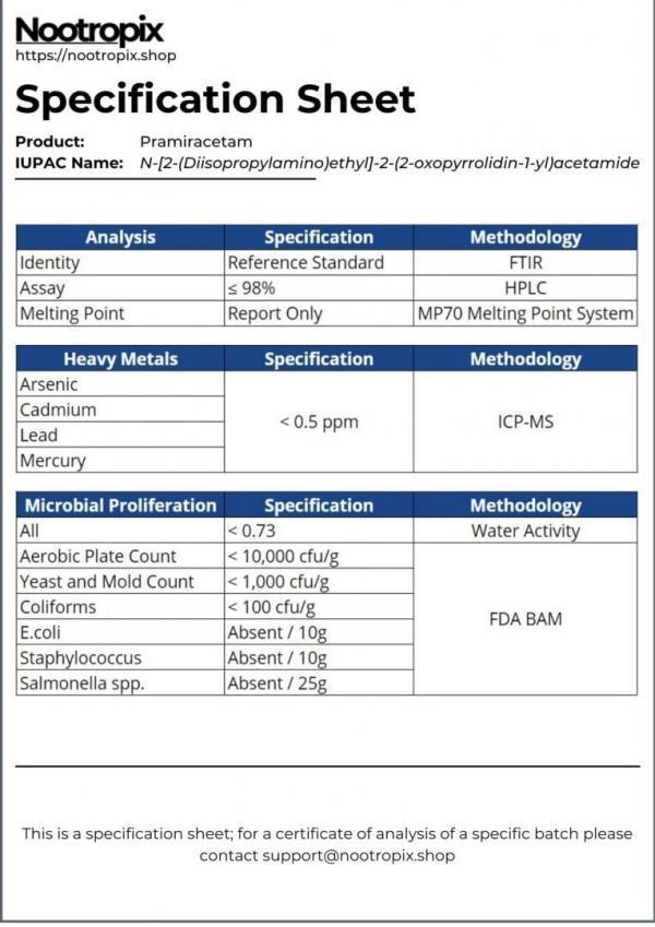 Pramiracetam Specification Sheet for Nootropix Dubai UAE